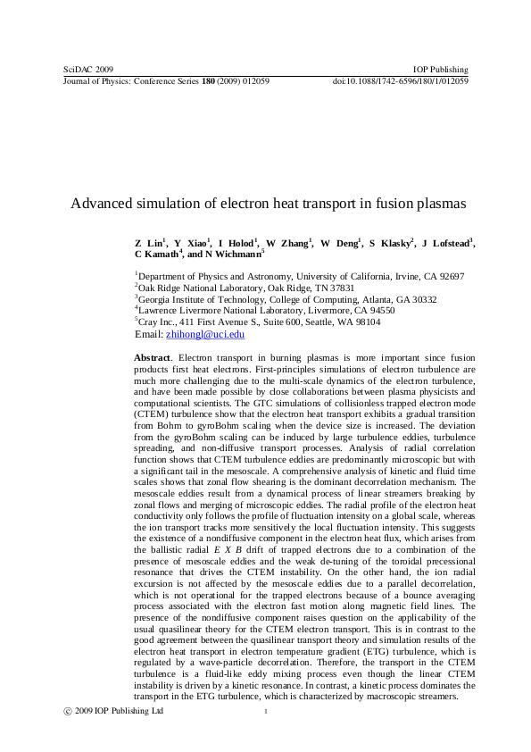 Advanced simulation of electron heat transport in fusion plasmas