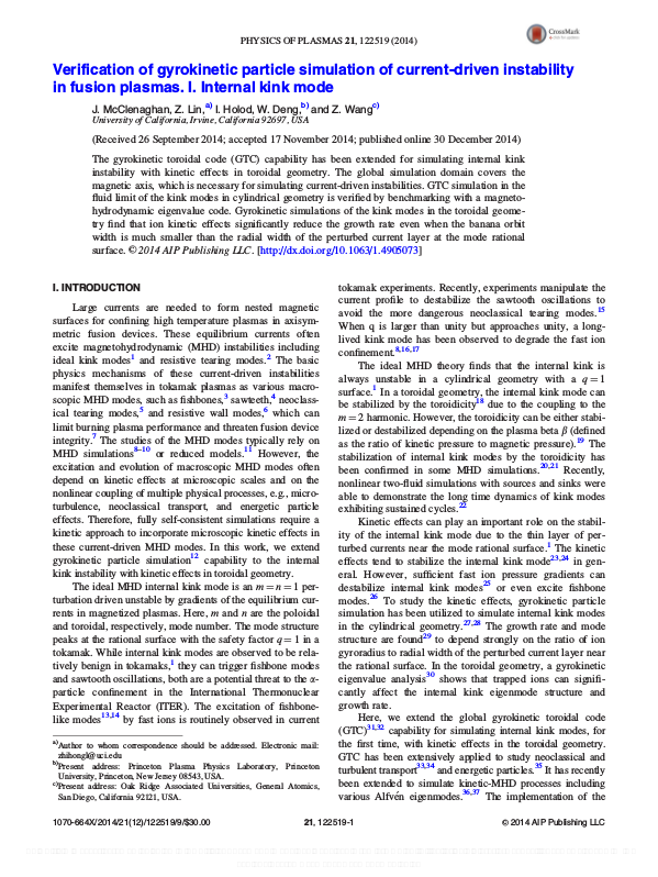Verification of gyrokinetic particle simulation of current-driven instability in fusion plasmas. I. Internal kink mode